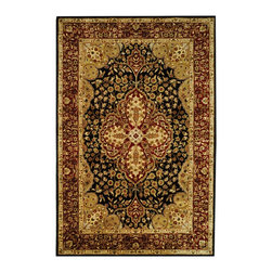 """Safavieh - Persian Legend Black/Red Area Rug PL522B - 7'6"""" x 9'6"""" - Inspired by the legendary designs of Persia's most prestigious rug-weaving capitals, these extraordinary reproductions recreate some of the most prized antiques in Safavieh's archival collection. Intricate Tabriz, Lavar Kerman and Isfahan hand-knotted motifs are remarkably adapted to these hand-tufted rugs of incomparable quality. The finest New Zealand wool is chosen to achieve the intricate weave of these carpets. With utmost attention to every detail, Safavieh creates its Persian Legends Collection in India to provide consumers an exquisite yet affordable artisan-crafted look."""