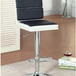 Furniture of America Geminette Faux Leather Bar Stool - Black and White - Upgrade your bar space with the fashionable Furniture of America Geminette Faux Leather Bar Stool - Black and White. Featuring a black and white finish, this bar stool showcases faux leather upholstery that is comfortably cushioned. This bar stool stands durably on a chrome base and offers swivel ability so you may maneuver whichever way you require.About Furniture of AmericaFurniture of America has over 20 years experience in the furniture industry. They have facilities in California, Georgia, and New Jersey. Furniture of American strives to provide a comprehensive selection of home furniture at competitive prices. They feature a wide variety of bedroom collections, youth furniture, dining room sets, upholstery, living room furniture, accents, upholstery, and more. Furniture of America offers, more value for less, always!