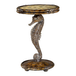 Hammary - Hammary Boracay Seahorse Round Accent Table - Seahorse Round Accent Table belongs to Boracay collection by Hammary This round accent table makes a true statement in the living room in your home. Featuring a round base and top with banana bark finish additions, as well as a wood carved seahorse pedestal design, the Boracay Seahorse Accent Table - 110-916 is like no other table available, making sure your home design is fresh and fashionable. Add an elegant and completely unique look to a myriad of rooms in your home with the Boracay collection. Featuring a lattice motif throughout each piece in this group, it gives off a feel of exotic and natural furniture. Sweeping curvatures and a deep brown finish outfit the pieces of this collection, as well as warm finished handle pull hardware.