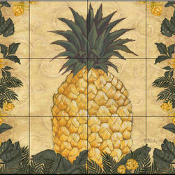 The Tile Mural Store (USA) - Tile Mural - Pb - Pineapple Floral - Kitchen Backsplash Ideas - This beautiful artwork by Paul Brent has been digitally reproduced for tiles and depicts a pineapple plant.  Our kitchen tile murals are perfect to use as part of your kitchen backsplash tile project. Add interest to your kitchen backsplash wall with a decorative tile mural. If you are remodeling your kitchen or building a new home, install a tile mural above your stove top or install a tile mural above your sink. Adding a decorative tile mural to your backsplash is a wonderful idea and will liven up the space behind your cooktop or sink.