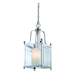 3 Light Chrome Clear Beveled Glass & Matte Opal Inside Glass Foyer Hall Pendant - This pendent fixture maybe small in size but it is big on looks. Chrome detailing is complimented with a modern looking clear beveled glass, while delicate matte opal glass provides a warm tenderness typically found with traditional lighting style. This combination ensures that no matter what room, this fixture will be a perfect fit.