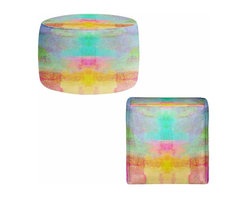 "DiaNoche Designs - Pastel Fields Ottoman, Round 20"" x 14"" - Lightweight, artistic, bean bag style Ottomans.  Coming in 2 square sizes and 1 round, you now have a unique place put rest your legs or tush after a long day! Artist print on all sides. Dye Sublimation printing adheres the ink to the material for long life and durability. Printed top, khaki colored bottom. Machine Washable. Product may vary slightly from image."