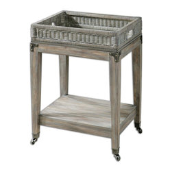 Uttermost - Davaughn Wooden Serving Cart - Crafted in solid pine with reinforced joinery and sun-faded finish, table has metal casters and decorative bracket accents with a lift-off wicker and solid wood tray.