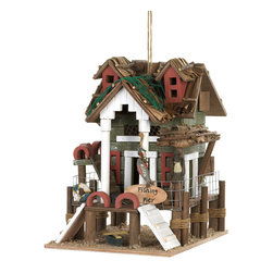 KOOLEKOO - Fishing Pier Birdhouse - This charmingly detailed birdhouse will turn your backyard into prime waterfront property...as far as the birds are concerned. Its intricate design features rope-wrapped pier posts, a life saver, and a quaint thatched roof that's decorated with fishing line.
