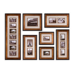 Uttermost - Newark Hanging Photo Collage, Set of 7 - Photo op! Store all your favorite memories in this hanging photo collage. The frames are heavily antiqued gold finish with a matte black outer edge. Ivory linen mats will enhance each one of your special photos. You can break this up in sections or hang it horizontally or vertically.
