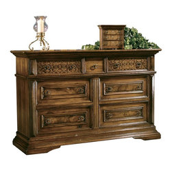 Hekman Furniture - Castilian Dresser - Seven drawers. Elaborate incised carved top drawer. Teak wood with solid burl drawer panels with moldings of alder solids. Custom cast hardware. Warranty: One year. Castilian finish. 72 in. W x 22 in. D x 45 in. H