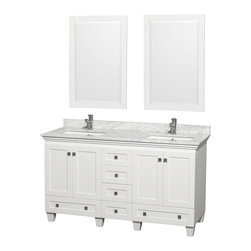 "Wyndham Collection - Wyndham Collection 60"" Acclaim White Double Vanity w/ White Porcelain Sink - Sublimely linking traditional and modern design aesthetics, and part of the exclusive Wyndham Collection Designer Series by Christopher Grubb, the Acclaim Vanity is at home in almost every bathroom decor. This solid oak vanity blends the simple lines of traditional design with modern elements like square undermount sinks and brushed chrome hardware, resulting in a timeless piece of bathroom furniture. The Acclaim comes with a White Carrera or Ivory marble counter, porcelain, marble or granite sinks, and matching mirrors. Featuring soft close door hinges and drawer glides, you'll never hear a noisy door again! Meticulously finished with brushed chrome hardware, the attention to detail on this beautiful vanity is second to none and is sure to be envy of your friends and neighbors!"
