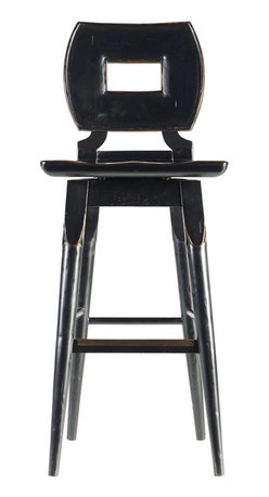 Stanley Furniture - Artisan-Wood Bar Stool - Hand-distressing adds character to the Wood Bar Stool. The swivel seat has been shaped to comfort the backside, in case the stories at the bar get long-winded.