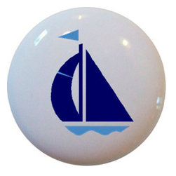 Carolina Hardware and Decor, LLC - Navy & Light Blue Sailboat Ceramic Cabinet Drawer Knob - New 1 1/2 inch ceramic cabinet, drawer, or furniture knob with mounting hardware included. Also works great in a bathroom or on bi-fold closet doors (may require longer screws).  Item can be wiped clean with a soft damp cloth.  Great addition and nice finishing touch to any room.