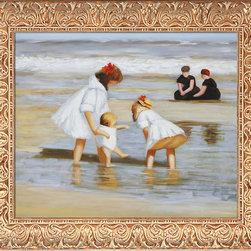 overstockArt.com - Edward Potthast - Children Playing at The Seashore Oil Painting - This is a remarkable oil painting with exceptional use of color, detail and brush strokes. Edward Potthast was among the best of the American Impressionist painters, popular and successful, who was strongly influenced by French Impressionism. Born on June 10, 1857 in Cincinnati, Ohio his paintings avoid complex emotions and instead depict happy carefree moments. This oil painting with its delightful depiction of 3 sisters playing in the water is sure to bring many admirers with memories of childhood.