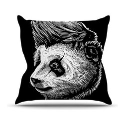 """KESS InHouse - BarmalisiRTB """"Funky Panda"""" Black White Throw Pillow, Outdoor, 18""""x18"""" - Decorate your backyard, patio or even take it on a picnic with the Kess Inhouse outdoor throw pillow! Complete your backyard by adding unique artwork, patterns, illustrations and colors! Be the envy of your neighbors and friends with this long lasting outdoor artistic and innovative pillow. These pillows are printed on both sides for added pizzazz!"""