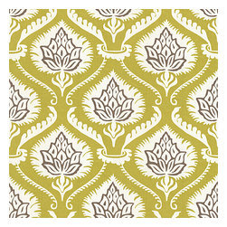 Lime Artichoke Cotton Sateen Fabric - Preppy modern print of lime green & gray artichokes and damask-like scrolls.Recover your chair. Upholster a wall. Create a framed piece of art. Sew your own home accent. Whatever your decorating project, Loom's gorgeous, designer fabrics by the yard are up to the challenge!
