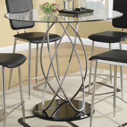 Coaster - Ciccone Counter Height Table, Chrome/Glossy Black - Add a contemporary touch to your dining space with this funky five piece counter height set. Crafted with a metal atom-like shaped base in a cool chrome finish, the table adds an impressive visual element with its presence. The glass table top features five times stronger tempered glass, ensuring durability for a long lasting dining piece. Matching chairs are comfortable and attractive, and seats are upholstered in black vinyl for additional style.