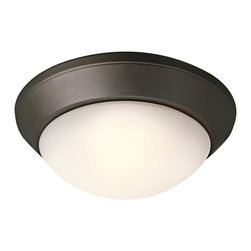 BUILDER - BUILDER Builder Transitional Flush Mount Mount Ceiling Light X-ZO2888 - This Kichler Lighting flush mount ceiling light features clean contemporary styling that has been complimented by a warm Olde Bronze finish. An elegant satin etched cased opal twist on glass shade completes the look. U.L. listed for damp locations. 90&#176: C wire rated.