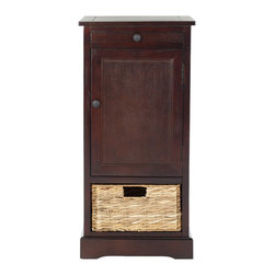 Safavieh - Safavieh Raven Tall Dark Cherry Storage Unite X-D3075HMA - Relaxed and casual, the Raven storage unit in pine with dark cherry finish has an easygoing appeal that's perfect for a country casual style. With a roomy cabinet and one pull out woven rattan basket with cutout handle, Raven makes stashing remotes, CDs a