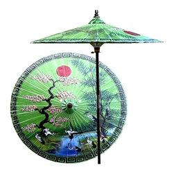 Oriental Unlimited - Asian Spring Patio Umbrella in Meadow Green ( - Choose Base: NoneHandcrafted and hand-painted by master artisans. 100% Waterproof and extremely durable. Umbrella shade can be set at 2 different heights, 1 for maximum shade coverage and the other for a better view of the shade. An optional base, which secures the umbrella rod and shade against strong winds and rain. Patio umbrella rod and base is constructed of stained oak hardwood for a rich look and durable design. Umbrella shade is made of oil-treated cotton. Minimal assembly required. Canopy: 76 in. D x 84 in. HThis extraordinary and artistic patio umbrella depicts the migration of Oriental cranes during the spring season. Each season represents a different part of life with spring being synonymous with rebirth. Through rain and shine this umbrella will provide you with years of shelter for you and your family.