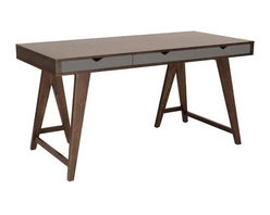 Eurostyle - Eurostyle Daniel 3 Drawer Desk in Walnut & Gray - 3 Drawer Desk in Walnut & Gray belongs to Daniel Collection by Eurostyle Dark walnut-stained ash veneer on MDF. Gray painted MDF drawer. Solid wood legs, dark walnut stain. Available as console and coffee table. Desk (1)
