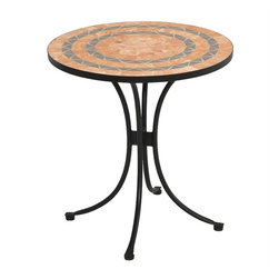 Home Styles - Home Styles Terra Cotta Bistro Table in Terra Cotta - Home Styles - Patio Bistro Tables - 560334 - This Bistro Table features a table top constructed of small square and triangular terra cotta and gray sandstone tiles in a ringed pattern.  The cabriole designed base is constructed of aluminum in a Black finish. Adjustable nylon glides prevent damage to surfaces caused by movement and provide stability on uneven surfaces. Size:  28��� Diameter x 30��� Height