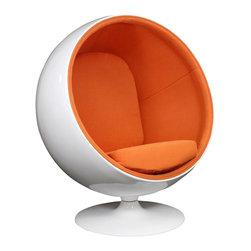 "IFN Modern - Ball Inspired Chair-Orange - Cashmere Wool - Overall Dimensions: 47.2\"" H x 39\"" W x 32.6\"" D Durable fiberglass shell"