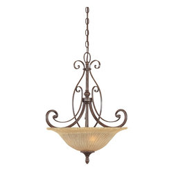 Designers Fountain - Designers Fountain Melia Traditional Inverted Pendant Light X-MW-13908 - An etched Champagne Glaze shade along with a Warm Mahogany finish creates the perfect design look. The various layered scrolls bring elegance to this pendant. The textured shade brings even more style as the bottom of the shade is accented with a small button accent.