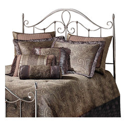Hillsdale - Hillsdale Doheny Metal Headboard in Antique Pewter-Full/Queen - Hillsdale - Headboards - 1383490 - Boasting an elegant pewter finish the Doheny bed also features slender tapered posts sweeping scroll work a high profile silhouette and intricate castings. Sophisticated and graceful this bed is as versatile as it is attractive.