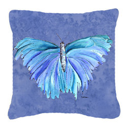 Caroline's Treasures - Butterfly on Slate Blue Fabric Decorative Pillow - Indoor or Outdoor Pillow from heavyweight Canvas. Has the feel of Sunbrella Fabric. 18 inch x 18 inch 100% Polyester Fabric pillow Sham with pillow form. This pillow is made from our new canvas type fabric can be used Indoor or outdoor. Fade resistant, stain resistant and Machine washable..