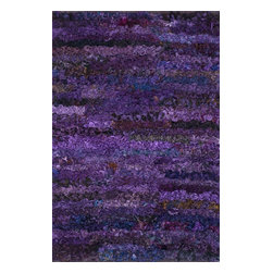 """Loloi Rugs - Loloi Rugs Eliza Shag Collection, Grape, 3'x5' - Get ready for a small rug that makes a big impact. Available in 2'3"""" x 3'9"""" and 3' x 5' scatter sizes, Eliza Shag is perfect for refreshing your kitchen, bathroom, or bedside with a pop of color. In fact, Eliza Shag doesn't just come in color, it's practically made of it. That's because most of the repurposed polyester fabric is hand dipped into rich dye lots and then hand woven together in India. The result is gorgeous colors - serene ocean blue, warm paprika, and elegant ivory - and a fun ruffled texture that's going to uplift the entire mood of your room."""