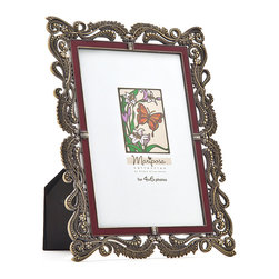 "Philip Whitney - Mar Bronze With Red Enamel Frame, 4""x6"" - Heavy embellishments and rich colors give the 4-by-6 inch Mar Bronze Frame its Mediterranean look. Featuring red enamel lining and an ornate bronze scroll and leaf pattern, this frame has a bold, elegant feel. Display it individually or group it with similar frames for a gallery-style effect."