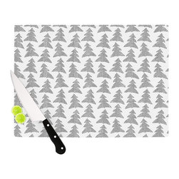 "Kess InHouse - Michelle Drew ""Herringbone Forest Black"" Gray White Cutting Board (11"" x 7.5"") - These sturdy tempered glass cutting boards will make everything you chop look like a Dutch painting. Perfect the art of cooking with your KESS InHouse unique art cutting board. Go for patterns or painted, either way this non-skid, dishwasher safe cutting board is perfect for preparing any artistic dinner or serving. Cut, chop, serve or frame, all of these unique cutting boards are gorgeous."