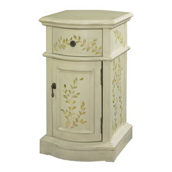 Powell - Powell White Chairside Cabinet X-912-642 - This White Chair side Cabinet adds some sophistication and class to any room. The classically shaped cabinet features hand painted floral patterns adorning the drawer and door faces. Antique Brass hardware accents the vintage burnished appearance. The perfect piece to add to any entryway, hall, bedroom or living area.