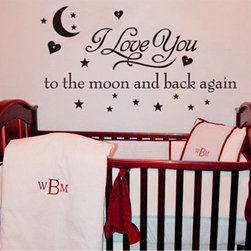 ColorfulHall Co., LTD - Baby Wall Decals I Love You To The Moon And Back, Brown - Baby Wall Decals I Love You To The Moon And Back