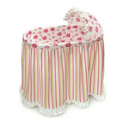 Badger Basket Embrace Bassinet with Stripe & Flower Bedding Set - Settle your baby down for a nap or a good night's rest in the gorgeous Badger Basket Embrace Bassinet with Stripe & Flower Bedding Set. Durably made this lovely bassinet has plastic legs and frame with metal hardware and a chipboard basket while the vinyl covered foam pad makes clean up easy should your little one have a small accident in the middle of the night. The caster wheels makes moving the bassinet simple although you should never move the bassinet while your baby is inside. You'll love the beautifully designed bedding set with complementing stripes and flowers that add a brilliant splash of color sure to catch your baby's eye. Complete with a skirt quilted liner sheet and hood cover your baby's bassinet will be ready for your baby when she arrives. Made from 100% cotton while the padding is the liner is 100% polyester filled the bedding is machine washable while the bassinet is easy to clean with a damp cloth. The Embrace Bassinet is made in the USA. The bassinet is intended to be used with the included bedding and some assembly is required. Additional Features Caster wheels makes moving the bassinet simple Bedding has bright flowers and complementing stripes Bedding set is 100% cotton Padding in liner is 100% polyester filled Bedding is machine washable Bassinet is easy to clean with a damp cloth Bassinet has plain walls Bassinet is intended to be used with bedding set Bassinet is made in the USA Some assembly required Badger Basket CompanyFor over 65 years Badger Basket Company has been a premier manufacturer of baskets bassinets bassinet bedding changing tables doll furniture hampers toy boxes and more for infants babies and children. Badger Basket Company creates beautiful and comfortable products that are continually updated and refreshed bringing you exciting new styles and fashions that complement the nostalgic and traditional products in the Badger Basket line.