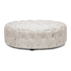Wholesale Interiors - Cardiff Beige Script Print Modern Tufted Ottoman - Tie your room together with the well-designed Cardiff Modern Ottoman. This large, circular footstool softens a space with its lack of angles and its versatile, neutral beige linen upholstery. A surplus of button tufting brings an element of traditional style to this otherwise contemporary ottoman. Our Cardiff Ottoman is fully assembled and made in China with eucalyptus wood, polyurethane foam padding, and black wood legs. A solid beige linen and solid dark gray linen option are also available (sold separately). Spot clean only.
