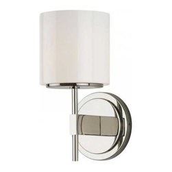 Stone Lighting - Lenox Wall Sconce - Lenox wall sconce features a fire polished opal glass shade on a linear arm finished in bronze, satin nickel or polished nickel. Also available in a 22.5 inch high version. Includes one 35 watt 12 volt JC GY6.35 base xenon lamp, or one 2 watt JC G4 base LED lamp. Xenon dimmable with low voltage electronic dimmer (Lutron preferred). General light distribution. ETL listed. 4.5 inch width x 13.5 inch height x 5 inch depth. Shade is 3 inch diameter x 3.25 inch height.