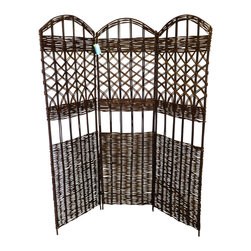 "Master Garden Products - Willow Screen, 3 Panel Divider, 54""W x 60""H - Our self standing willow screen and room dividers can be used indoors or outdoors,  in residential or any commercial facilities, to divide an area for privacy or to create an extra room. They can be folded and stored away easily when not in use."