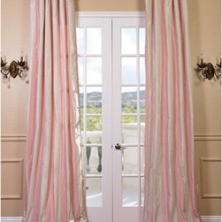 Half Price Drapes - Annabelle Faux Silk Taffeta Stripe Single Panel Curtain, 50 X 96 - - Defined by a unique sheen and fine weave, our Exclusive Poly Taffeta Curtains  Drapes are gorgeous and timeless. Our Taffeta drapes have a crisp smooth finish in striped patterns. The Poly Taffeta fabric provides you with a quality, cost saving alternative.   - Single Panel   - 3 Rod Pocket   - Corner Weighted Hem   - Pole Pocket with Back Tab  Hook Belt Attached. Can be hung using rings. (Not Included)   - Dry clean   - 100% Polyester   - Lined with a cotton blend material  - 50x96   - Imported   - Multi-Colored  - Does not include ties Half Price Drapes - PTSCH-11091-96