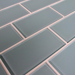 "Rocky Point Tile - Jasper Blue 3"" x 6"" Glass Subway Tiles, 3"" X 6"" Sample - A gentle light blue with a slightly gray undertone best describe our Jasper glass subway tiles. A perfect choice for a bathroom tub surround, or a white kitchen in need of a touch of color. These tiles come loose packed giving you the option to arrange them in the pattern of your choice. Each tile is back painted and has a high gloss finish."