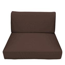 Trijaya Living - Sunbrella Universal Wicker Club Chair Cushion, Bay Brown - Sunbrella Universal Wicker Club Chair Cushion