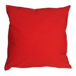 Pillow Decor - Pillow Decor - Caravan Cotton Red 16 x 16 Throw Pillow - Bold and beautiful, the Caravan Cotton 16 x 16 Throw Pillows are the ideal pillows for adding a simple splash of color to your decor. With 3% spandex added to improve durability and wash ability, these soft cotton pillows will provide long lasting comfort.