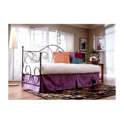 Leggett/Platt Fashion Bed - Caroline Daybed (White) - Color: WhiteGraceful scrolled metal accents give this metal daybed an elegant appeal that will easily enhance your home's decor. Perfect for a small guest room or a corner alcove, the daybed is finished in your choice of colors and features an arched back and side posts for added visual interest. Made of metal. Link Spring not included. Pictured in Flint finish. 39.5 in. W x 79.375 in. D x 48 in. H (62 lbs.)The Caroline Daybed captures the uniqueness of our times. This cost-effective daybed fits anywhere with its clean, uncomplicated lines. The gently sloping back and arms are welded for strength. This charming daybed has a light airy feel to it. The Flint finish is medium matte gray electro-statically applied powder paint with a lacquer finish for durability.