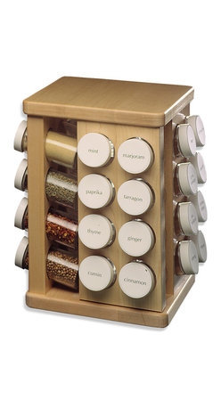 J.K. Adams - Carousel Spice Rack, 32 Bottles - Variety is the spice — not to mention the herb — of life. So why limit yourself to salt and pepper? This maple wood spice carousel spins to display your favorite ingredients, and comes with the glass bottles, caps, sifters and labels.