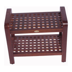 "Deco Teak - 24"" Teak Grate Shower Bench with Lift Aide Arms with shelf - Deco Teak Grate Stool LiftAide 24"" length ergonomic spa stool, with included storage shelf, provides a combination of comfort and elegance to your spa, shower, bathroom, patio, or living area. The classic grate pattern aids a contemporary modern feeling to the furniture similar to modern Scandinavian designs. Extensive clinical research has shown that by simply providing arms to assist in lifting out of a chair, the added leverage can increase efficiency by almost 200%. The LiftAide arms are designed to be sturdy, and steady to provide that added support and assistance when lifting out of the shower chair. They also provide a handy surface for hanging towels on, and the bench can double as a towel rack once you are out of the shower. An included utility shelf provides additional storage and easy access for your toiletries, or other essential items. The teak stool is 24"" in length by 13"" width, by 18"" high. Teak is naturally water, mold, and mildew resistant due to its natural density and high oil content. It has been the wood of choice for hundreds of years of luxury boat builders. This natural resistance has been supplemented by using our proprietary Deco Teak stain which is a deep penetrating stain with added mold, mildew, and fungus inhibitors. It provides the ability for this teak furniture to be used outdoors as well as indoors. All Deco Teak stools and benches come standard with leveling pads to provide added stability to compensate for any sloped surfaces such as shower floors, and patio floors. Attractive contemporary grate pattern; LiftAide arms and extended length for ease of sitting and standing; Attractive contemporary grate pattern; Dimensions: 24"" L x 13"" W x 18"" H; Height of Handle: 21"""