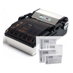 SousVide Supreme Chamber Vacuum Sealer and Pouches Bundle - The SousVide Supreme ChamberVac Vacuum Sealer allows you to vacuum seal and package liquids and liquid-rich foods. Standard vacuum sealers operate by suction, meaning the air is vacuumed out of a vacuum bag and then the bag is sealed. However, along with air, liquids may also be pulled out of the bag, leaving a film of liquid or oil on the sealing edge of the bag, which can result in an incomplete or imperfect seal.