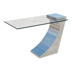 Sheres - Clasp Lamp Table - Clean and simple stainless and glass sculptural table. Great alone or as a pair for larger spaces.