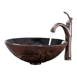 Kraus - Kraus Lava Glass Vessel Sink and Riviera Faucet Oil Rubbed Bronze - *Add a touch of elegance to your bathroom with a glass sink combo from Kraus