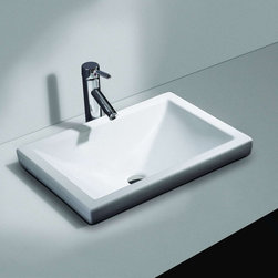 "Cantrio - Cantrio  PS-111 - Cantrio China Semi Recessed Sink PS-111 Sink 21"" X 15"" x 6-1/4"" - PS-111"