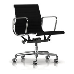 Herman Miller - Herman Miller Eames Aluminum Management Chair | Smart Furniture - You won't mind getting the job done when you're sitting in this striking office chair. The slightly curved backrest and seating area cradles you, while supportive rests give your arms and hands a well-deserved break.