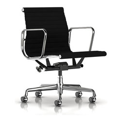 Herman Miller - Herman Miller Eames Aluminum Management Chair - You won't mind getting the job done when you're sitting in this striking office chair. The slightly curved backrest and seating area cradles you, while supportive rests give your arms and hands a well-deserved break.