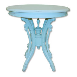 Tradewinds - Plantation Grown and Glazed Mahogany Round Tea Table, Aqua - Make this Victorian Round Tea Table a part of your tea-time gossips by adding it to your other furniture members. This round shaped table will best suit to your garden area where you can sip your tea or coffee while enjoying the beautiful area around you. You can easily select from the assortment of finish colors so as to match the table according to your preferred area. The structure is of solid hardwood that is made from plantation grown and glazed mahogany and mindi as well as premium hardwood veneers. The traditional design of the table is very appealing and the hand-painted look enhances the beauty of the table.
