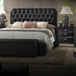 Acme 14350Q Ireland Black PU Queen Bed - Bedroom Furniture - Acme 14350Q Ireland Black Queen Bed with PU Headboard